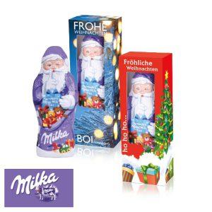 Der Weihnachtsmann von Milka 50 g ist in einer Werbebox mit Sichtfenster. Die Box kann individuell bedruckt werden.