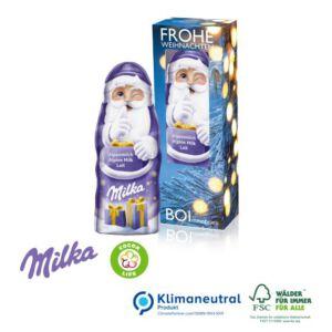 Milka Weihnachtsmann 45 g in individuell bedruckter Werbebox als Werbeartikel