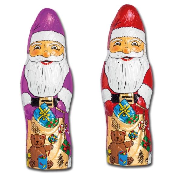 Schoko Weihnachtsmann mit Logo aus 100g Fairtrade Schokolade. Die Folie kann mit Ihrem Logo bedruckt werden.