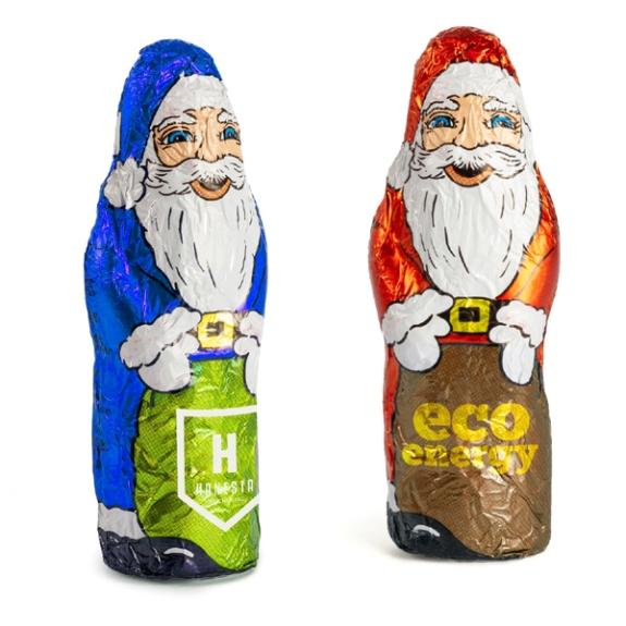 Schoko Weihnachtsmann mit Logoeindruck auf der Folie und 15g Fairtrade Vollmilchschokoolade.