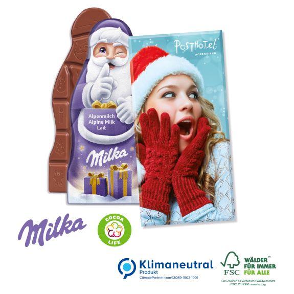 Weihnachtsmanntafel der Marke Milka verpackt in einer individuell bedruckten Werbebox als Werbeartikel.
