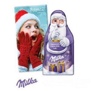 Milka Schokoladentafel in Weihnachtsmannform verpackt in einer Werbeverpackung. Die Werbeverpackung kann individuell nach Wunsch bedruckt werden.
