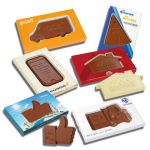 Sonderanfertigung in Schokolade mit individueller Prägung als Werbeartikel.