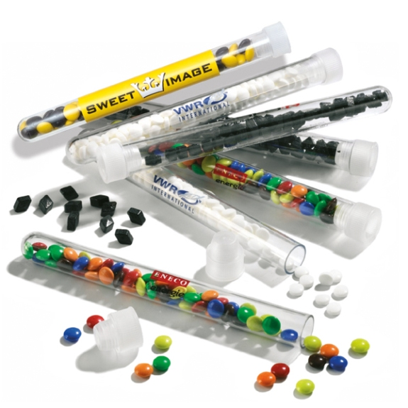 Reagenzglas individuell bedruckt und mit Süßigkeiten gefüllt.