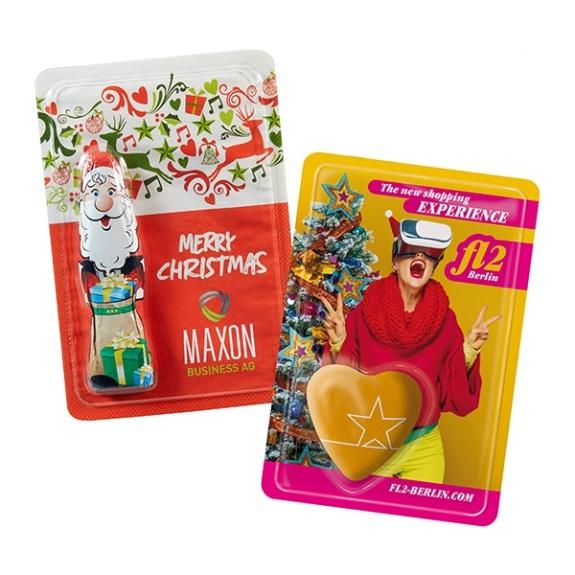 Karte mit Blister und einem Schoko Weihnachtsmann. Das Deckblatt wird individuell bedruckt nach Wunsch.