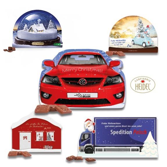 Den System Adventskalender gibt es in vier verschiedenen Standardformen. Die Konturen des Kalenders sind wie ein Auto, Haus, LKW oder Schneekugel. Der System Adventskalender kann individuell bedruckt werden.