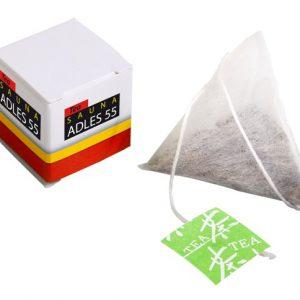Tee Würfelbox mit Werbedruck und einem Teebeutel in Tetraederform. Verschiedene Sondergeschmackssorten sind auch möglich.