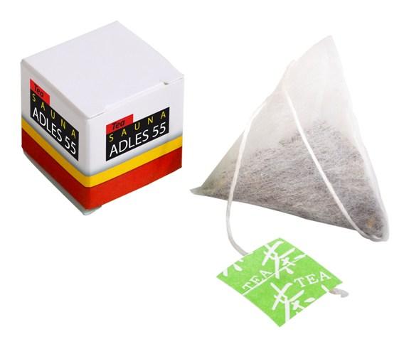 Teebox in Würfelform individuell bedruckt und gefüllt mit einem Teebeutel in Tetraederform.