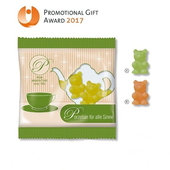 Teebären im Werbetütchen 18g als süßes Heißgetränk. Fruchtgummi Teebären zum Auflösen in heißem Wasser. Mit individuellem Druck auf der Folie. Auch kompostierbare Folie und Farben möglich.