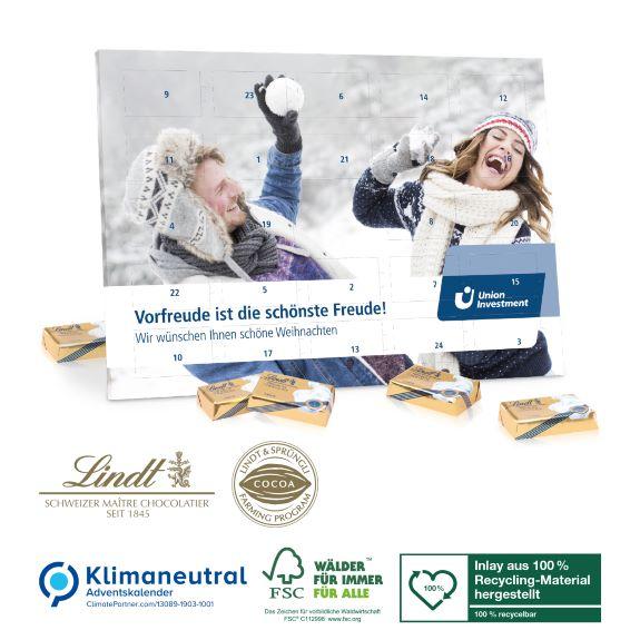 Tisch Adventskalender mit Lindt Täfelchen und individuellem Druck als Werbegeschenk.