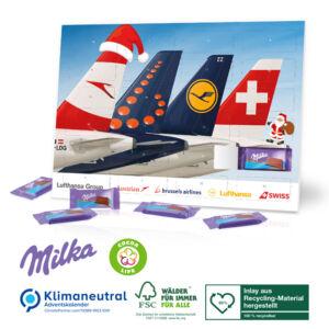 Tisch Adventskalender Milka individuell selbst gestaltet nach Wunsch als Werbeartikel.