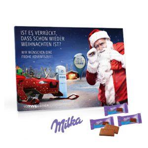 Der Tischkalender Milka ist gefüllt mit Schokoladentäfelchen der Marke Milka. Jeder Kalender wird individuell bedruckt auf Vorder- und Rückseite und Türchen-Innenseiten.