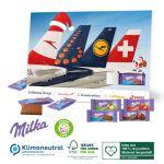 Tisch Adventskalender mit Milka Schokolade individuell bedruckt mit Logo als Werbeartikel.