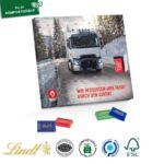 Quadratischer Tischkalender mit Lindt Schokolade und inidividuellem Druck als Werbeartikel und personalisierter Adventskalender..