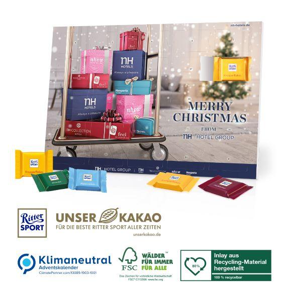 Der Tisch Adventskalender ist gefüllt mit Ritter Sport Schokolade und kann individuell bedruckt werden als Werbeartikel.
