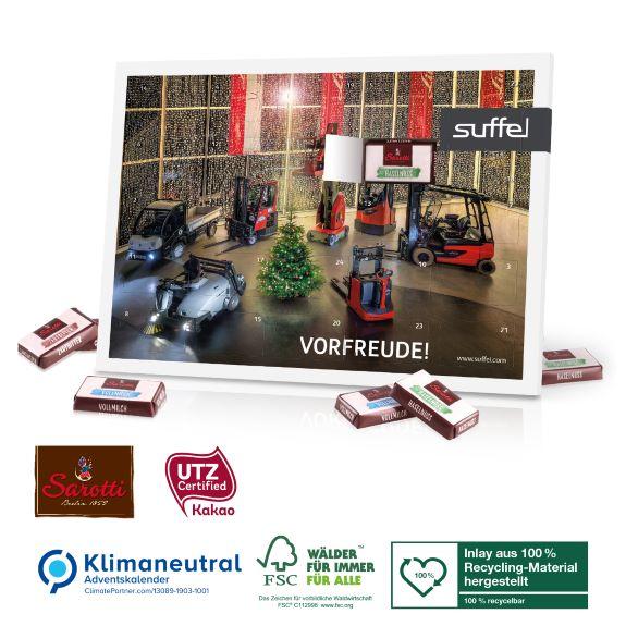 Tisch Adventskalender mit Sarotti Schokolade gefüllt und individuell bedruckt nach Vorlage als Werbeartikel.