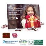 Tisch Adventskalender mit Sarotti Schokolade zum selbst gestalten mit Foto und Logo als Werbeartikel.