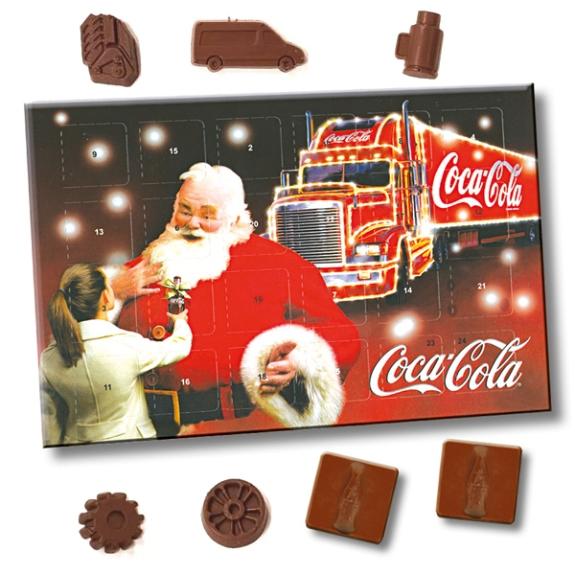 Adventskalender mit Schokolade gestalten nach Wunsch und individuell bedruckt als Werbeartikel.