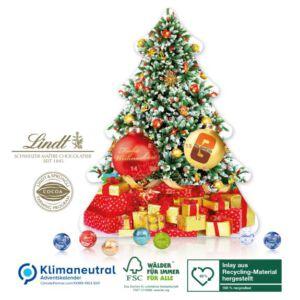 Adventskalender als Weihnachtsbaum gefüllt mit Lindor Kugeln und individuell mit Logo bedruckt als Werbeartikel.