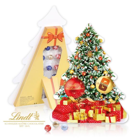 Der Weihnachtsbaum Adventskalender ist gefüllt mit 24 Lindor-Pralines. Der Kalender kann individuell bedruckt werden auf allen Seiten. Auch ein Türchen-Innendruck ist möglich!