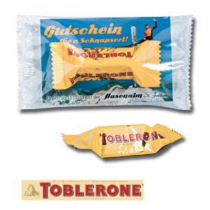 Toblerone milk Tiny 8g mit Werbedruck auf Karte