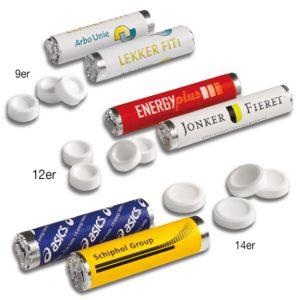 Traubenzucker Rolle in drei verschiedenen Größen. Jede Traubenzucker Rolle kann individuell bedruckt werden. Traubenzucker gerollt zu 9, 12 oder 14 Stück in einer Rolle.