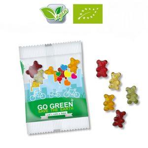 Vegane Bio Gummibärchen 10g in weißer oder transparenter Folie mit Werbedruck. Auch in kompostierbarer Folie mit Werbedruck möglich.
