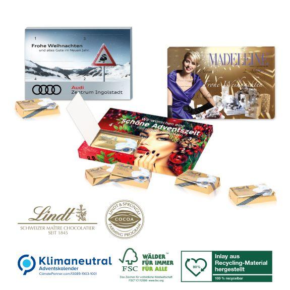 Mini Adventskalender mit Lindt Schokolade individuell bedruckt als Werbeartikel
