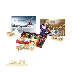 Der XXS Adventskalender ist mit Lindt Schokolade gefüllt und kann individuell bedruckt werden. Der Druck erfolgt auf der Vorder- und Rückseite und auf den Türchen-Innenseiten.