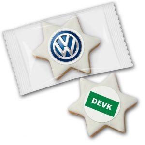 Zimtsterne mit Dekoraufleger mit Ihrem Logo individuell bedruckt und einzeln verpackt in Folie.