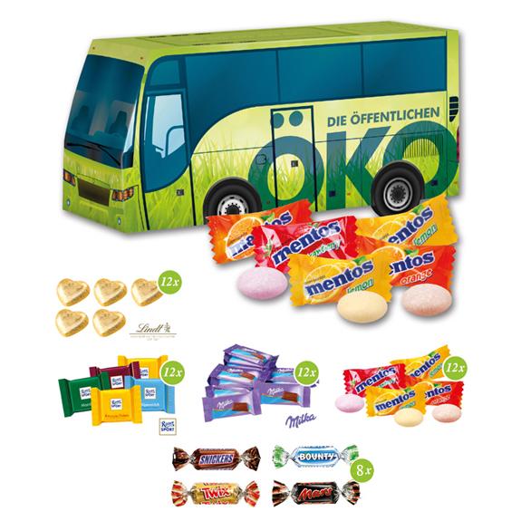 Das 3D Präsent Bus ist gefüllt mit Lindt Herzen, Ritter Sport Täfelchen, Milka Täfelchen, Mentos oder Miniatures Mix. Die Busverpackung kann individuell bedruckt werden.