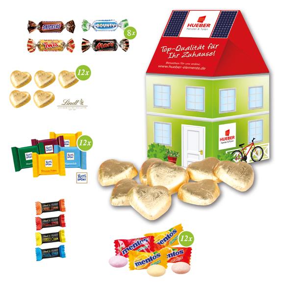 Süßigkeiten Haus als Werbeartikel gefüllt mit Lindt, Lindt HELLO, Mentos oder Mars Miniatures Mix.