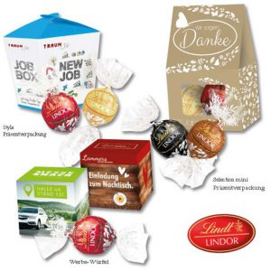 Die Lindt Lindor Pralinés 1er und 2er sind verpackt in der Style-Präsentverpackung, Selection mini Präsentverpackung oder im Werbewürfel. Die Verpackungen werden individuell bedruckt nach Wunsch.