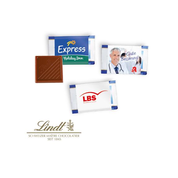 Die Schoko Täfelchen Lindt mit Banderole sind aus 5,5g Vollmilchschokolade. Die Werbebanderole kann individuell bedruckt werden nach Wunsch.