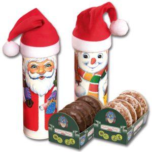 Weihnachtsdose als Nikolaus oder Schneemann mit Nikolausmütze. Jede Dose ist gefüllt mit Mini Lebkuchen mit Schokolade oder Zuckerguß.