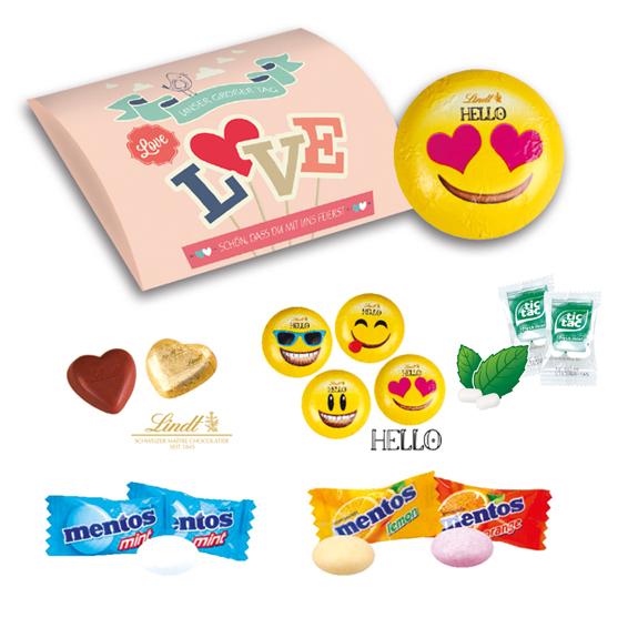 Werbebriefchen individuell bedruckt nach Wunsch und gefüllt mit Lindt-Herzen, Lindt Hello Emoties, mentos oder tic tac.