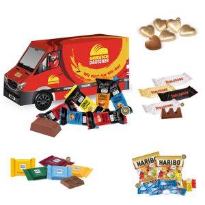 3D Verpackung als Transporter mit Süßigkeiten gefüllt und individuell bedruckt als Werbeartikel.