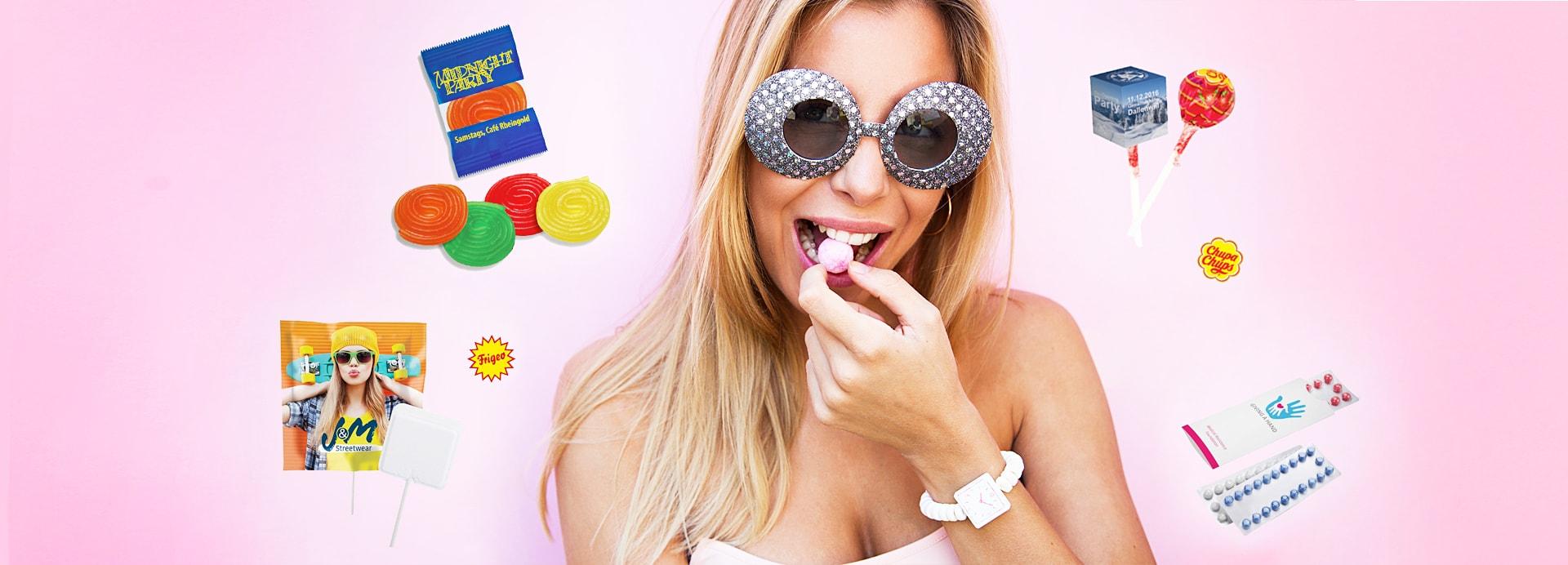 Werbeartikel Süßigkeiten selber gestalten mit Logo und Werbeslogan als Werbegeschenk.