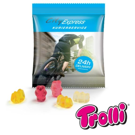 Express Gummibärchen Werbetüte der Marke Trolli. Individueller Druck auf der Folie nach Wunsch. Gefüllt mit 7g Gummibärchen von Trolli.