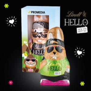 Der Hello Osterhase in Werbebox 140g kann individuell bedruckt werden auf der Verpackung nach Wunsch..
