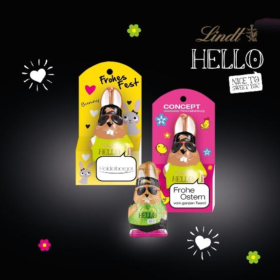 Der Hello Osterhase mit Werbung 10g von Lindt kann individuell bedruckt werden auf der Verpackung.