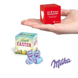 Der Milka Ostereier Werbewürfel wird individuell bedruckt und ist gefüllt mit vier Stück Milka Ostereier.