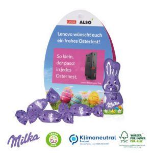 Milka Werbe Osterei individuell bedruckt als Werbeartikel.