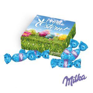 Milka Werbegeschenk Alpenmilch Eier verpackt zu sechs Stück in einer quadratischen Verpackung. Die Geschenkverpackung kann individuell bedruckt werden. Jedes Milka Alpenmilch Ei ist einzeln gewickelt in Milka Folie.