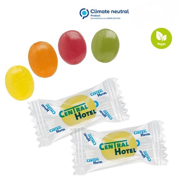 Bonbons als Werbemittel einzeln verpackt im Flowpack mit individuellem Druck.