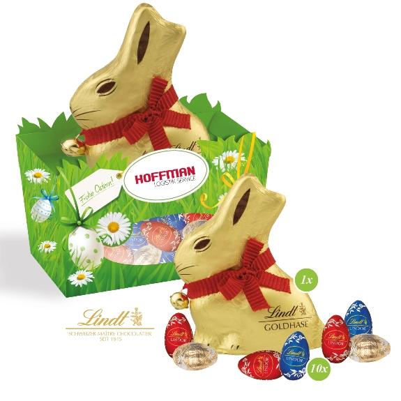 Osternest Lindt Schokoladenmischung 100g gefüllt mit 10 Lindor Eiern und 1 Lindt Goldhasen mit Glöckchen 50g. Das Osternest kann individuell nach Wunsch bedruckt werden.