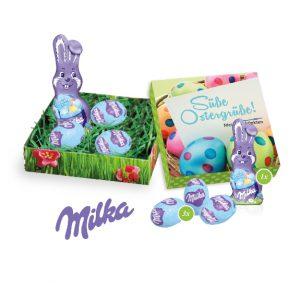 Das Osternest Milka mini 39g ist gefüllt mit einer Schokoladenmischung von Milka. Mit drei Alpenmilchschokoladeneiern und einem Milka Schmunzelhasen in 10g. Die Präsentverpackung kann individuell nach Kundenwunsch mit einem Werbedruck versehen werden.