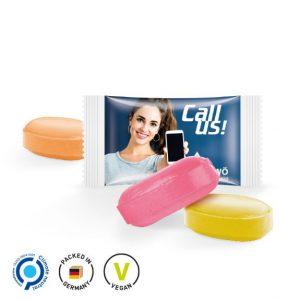 Werbe Bonbons im Flowpack einzeln verpackt. Die Folie des Flowpacks kann individuell bedruckt werden nach Wunsch. Die Folie ist weiß oder transparent.