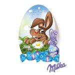 Das Werbe Osterei Milka Schokoladenmischung besteht aus drei Milka Ostereiern und einem kleinen Milka Schmunzelhasen. Das Werbeei kann individuell bedruckt werden.