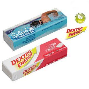 Dextro Energy Riegel mit 14 Dextrosetäfelchen in originalverpackung. Mit einem Werbeschuber aus Karton, der individuell bedruckt wird nach Wunsch.